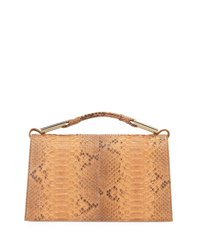 Charlotte Python Evening Clutch Bag, Luggage