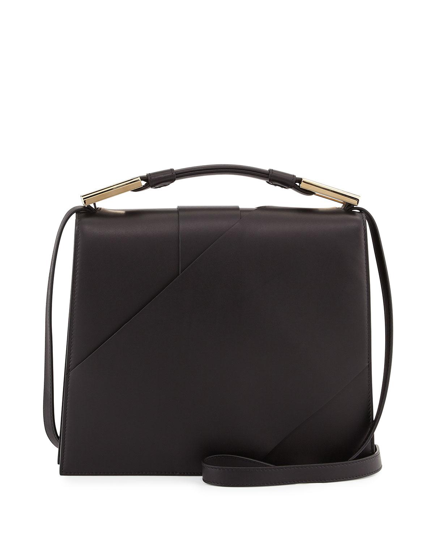 Charlotte Origami Leather Handbag, Black