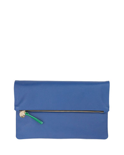 Supreme Fold-Over Clutch Bag, Cobalt Saffiano