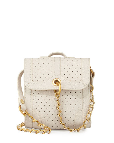 Grove Perforated Leather Shoulder Bag, White