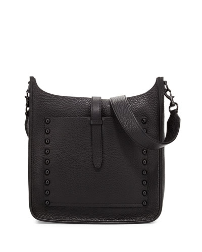 Unlined Leather Feed Bag, Black