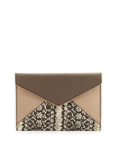 Leo Mixed-Media Envelope Clutch Bag, Taupe Multi
