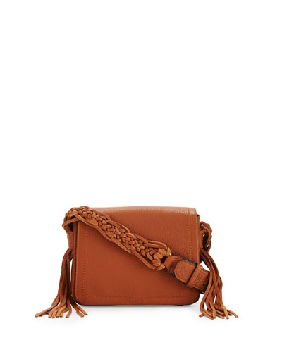 Wendy Small Leather Crossbody Bag, Almond