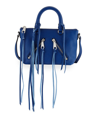 Micro Moto Leather Satchel Bag, Cobalt