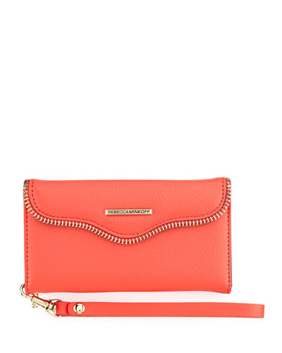 Leather Folio Wristlet Wallet for Smartphone, Watermelon