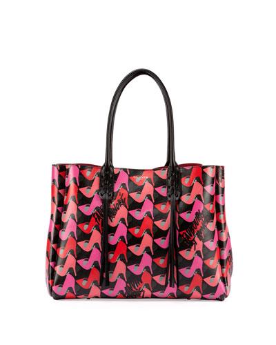 Shoe-Print Leather Shopper Tote Bag, Pink