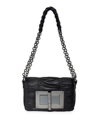 Natalia Medium Pleated Shoulder Bag, Black