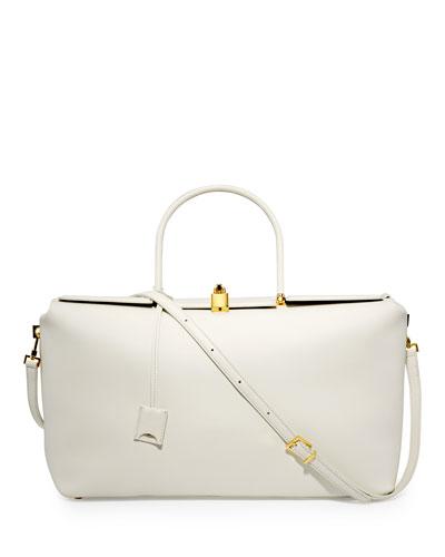 India Large Leather Satchel Bag, White