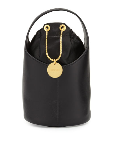 Miranda Micro Leather Bucket Bag, Black