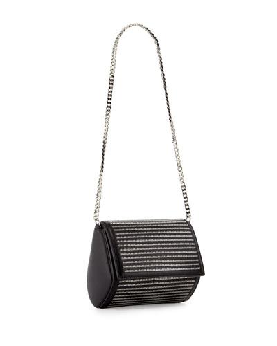 Pandora Box Chain-Detail Minaudiere, Black