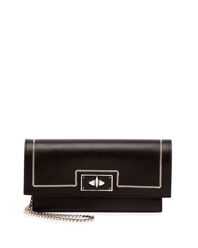Shark Chain-Detail Large Clutch Bag, Black