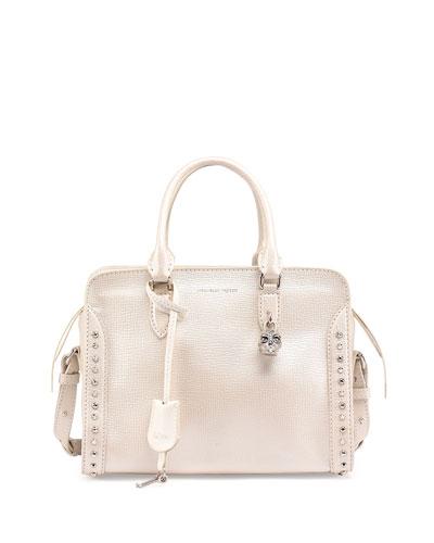 Small Padlock Studded Satchel Bag, Pearl