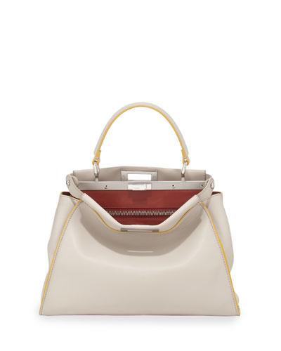 Peekaboo Medium Satchel Bag, White