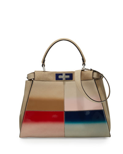 Peekaboo Medium Gradient Satchel Bag, Nude Multi