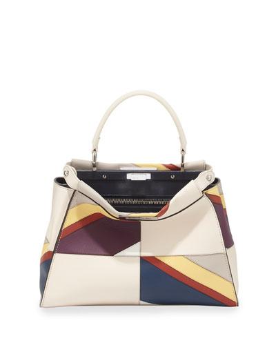 Peekaboo Medium Satchel Bag, White Multi
