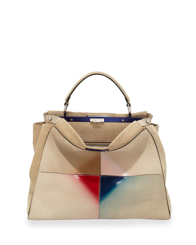 Peekaboo Large Satchel Bag, Nude Multi