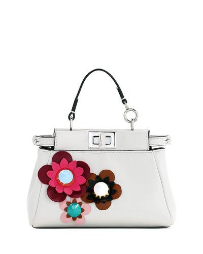 Micro Peekaboo Floral Satchel Bag, White