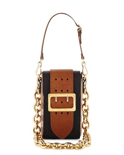 Belt Oblong House Check Shoulder Bag, Black
