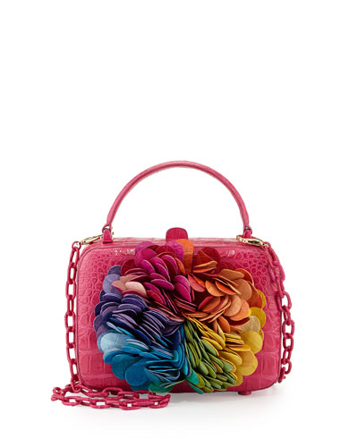 Floral-Applique Crocodile Box Clutch Bag, Pink Multi