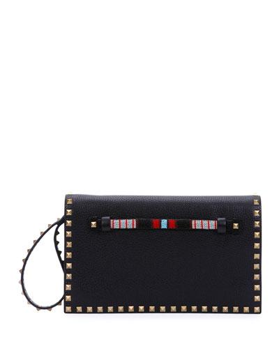 Rockstud Medium Beaded Flap Clutch Bag, Black