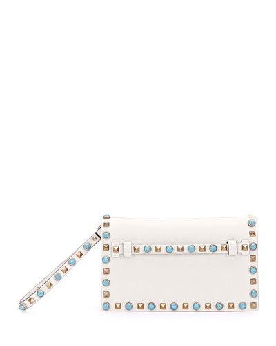 Rolling Rockstud Small Flap Clutch Bag, Ivory