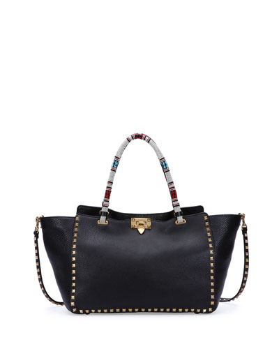 Rockstud Medium Beaded Tote Bag, Black