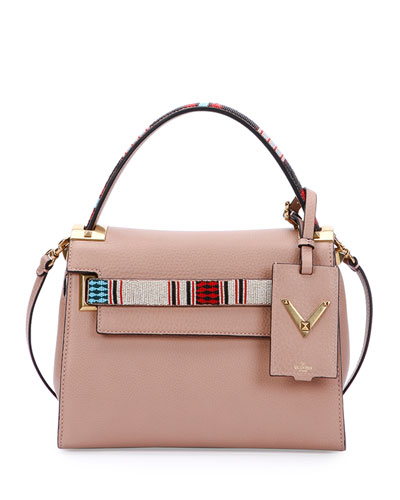 My Rockstud Small Beaded Satchel Bag, Beige