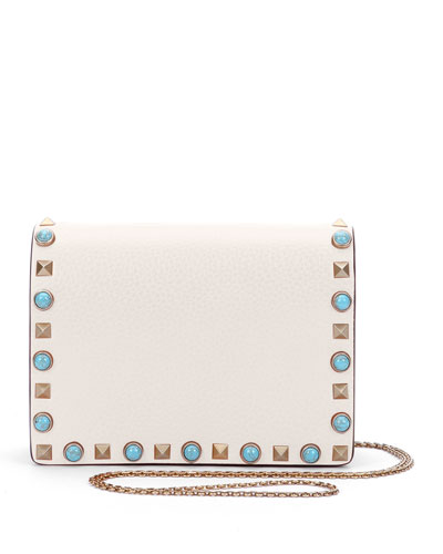 Rolling Rockstud Small Flap Chain Crossbody, Ivory