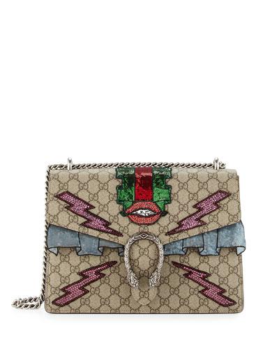 Dionysus Embroidered Supreme GG Shoulder Bag, Ebony/Taupe