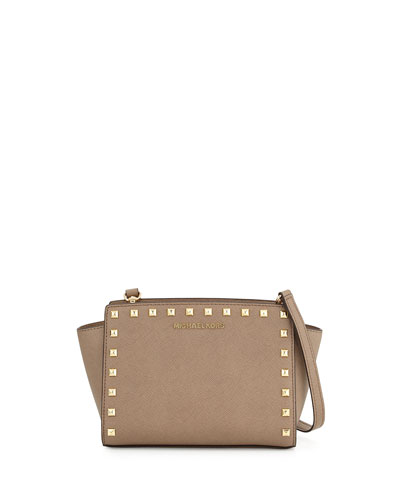 Selma Medium Studded Saffiano Messenger Bag, Dark Dune