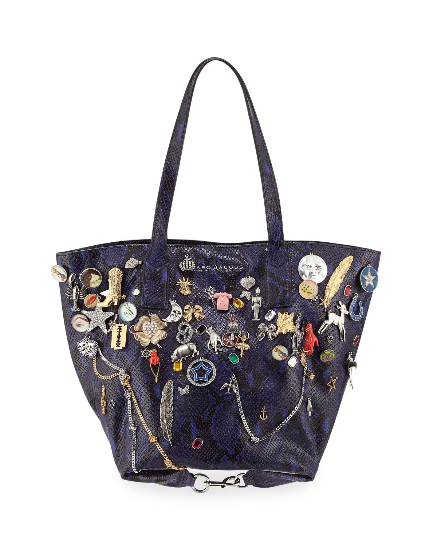 Snake-Print Embellished Wingman Shopping Bag, Cobalt