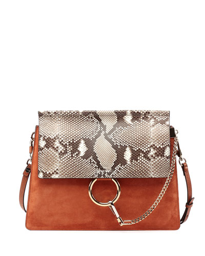 Faye Python-Pattern Leather & Suede Shoulder Bag, Brown