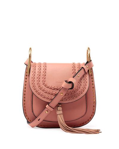 Hudson Tassel-Trim Leather Shoulder Bag, Rose