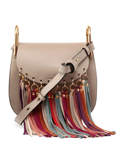 Hudson Fringe-Trim Leather Shoulder Bag, Gray