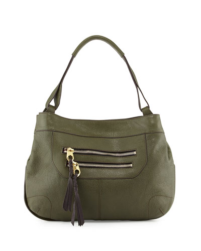 Sandy Leather Hobo Bag, Forest