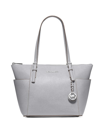 Jet Set Top-Zip Saffiano Tote Bag, Dove