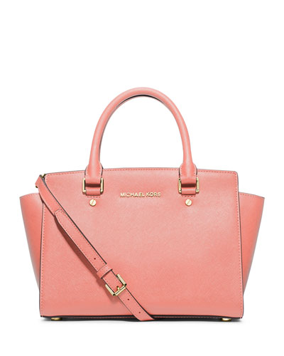 Selma Medium Top-Zip Satchel Bag, Pale Pink