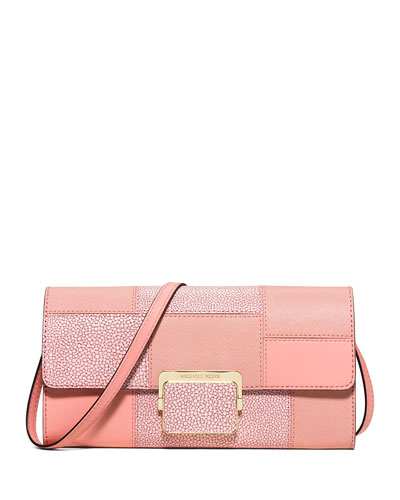 Cynthia Large Patchwork Evening Clutch Bag, Pale Pink