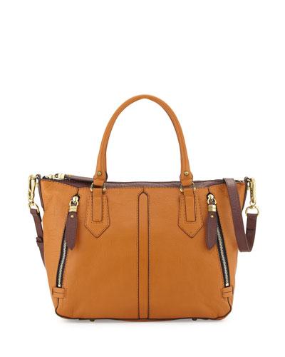 Dana Diamond Leather Satchel Bag, Saddle