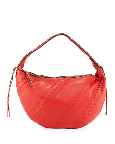 Tori Leather Hobo Bag, Flame