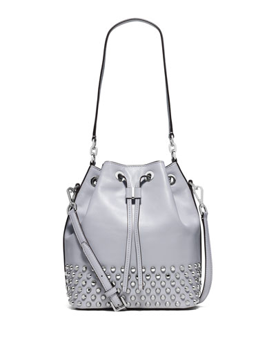 Dottie Studded Leather Large Bucket Bag, Dove