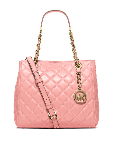 Susannah Small Quilted Tote Bag, Pale Pink