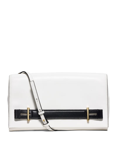 Chelsey Two-Tone Large Evening Clutch Bag, White/Black