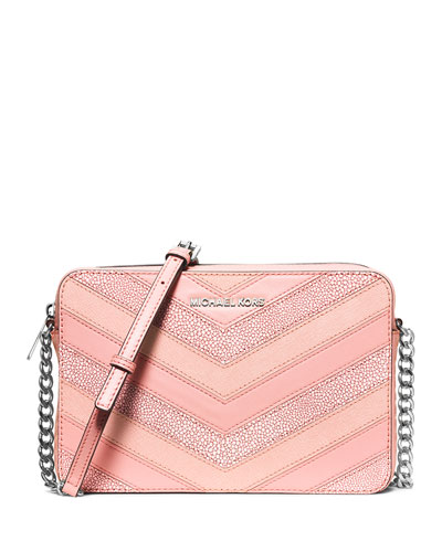 Jet Set Travel Large Chevron-Patch Crossbody Bag, Pale Pink