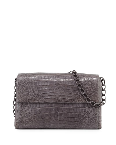 Medium Crocodile Flap Shoulder Bag, Gray Matte