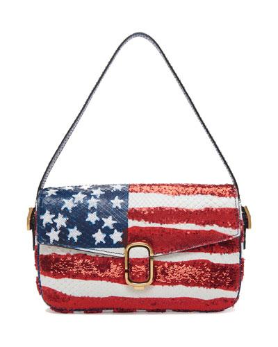 American Flag Sequin Python Shoulder Bag, Red