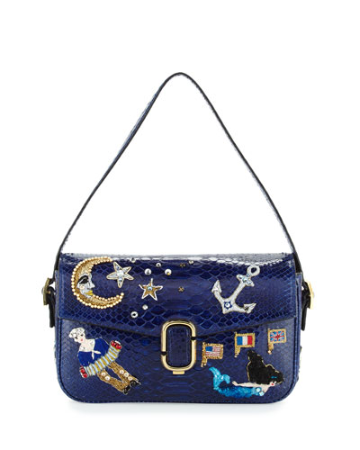 J Marc Aged Python Shoulder Bag w/Embroidered Patches, Dark Blue