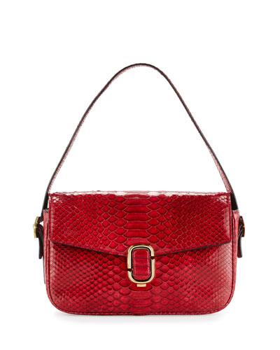J Marc Aged Python Shoulder Bag, Crimson