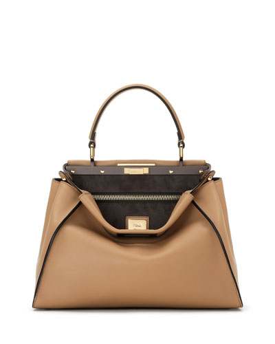 Peekaboo Medium Leather Satchel Bag, Camel