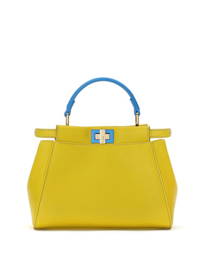 Peekaboo Mini Bicolor Satchel Bag, Yellow